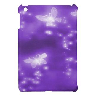 Purple , Glitter and  White Butterflies iPad Mini Cases