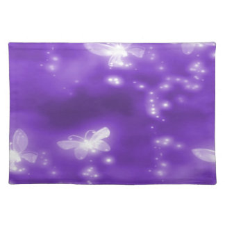 Purple , Glitter and  White Butterflies Placemat