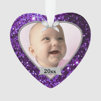 Purple Glitter Baby's 1st Christmas Ornament