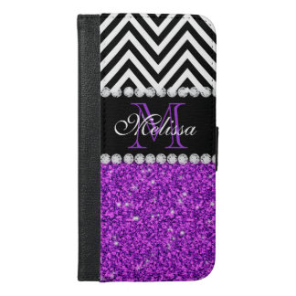 PURPLE GLITTER BLACK CHEVRON MONOGRAMMED iPhone 6/6S PLUS WALLET CASE