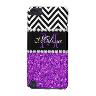 PURPLE GLITTER BLACK CHEVRON MONOGRAMMED iPod TOUCH 5G COVER