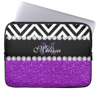 PURPLE GLITTER BLACK CHEVRON MONOGRAMMED LAPTOP SLEEVE