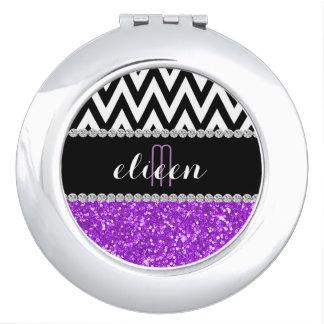 Purple Glitter Black Chevron Monogrammed Makeup Mirrors