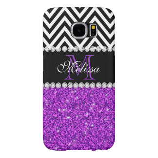 Purple Glitter Black Chevron Monogrammed Samsung Galaxy S6 Cases