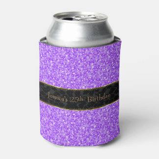 Purple Glitter & Black-Gold Accents Can Cooler