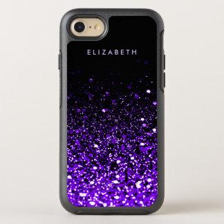 Purple Glitter Black Trendy Modern Chic Cool OtterBox Symmetry iPhone 8/7 Case