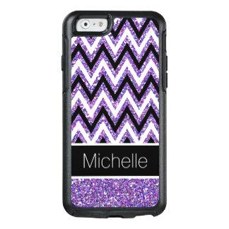 Purple Glitter Black White Chevron iPhone 6 Case