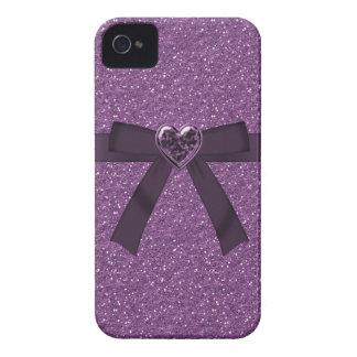 Purple Glitter, Bow & Heart Jewel iPhone 4/4S iPhone 4 Cases