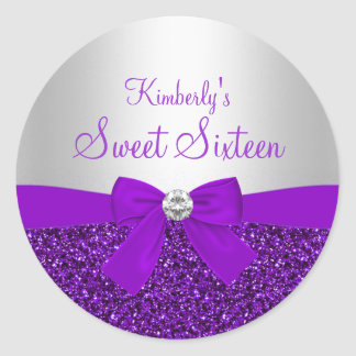 Purple Glitter & Bow Sweet Sixteen Sticker