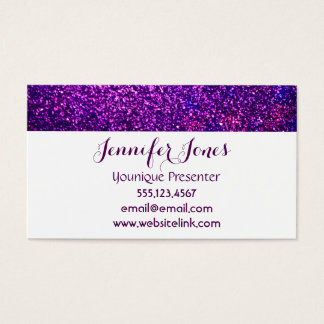 purple glitter business cards