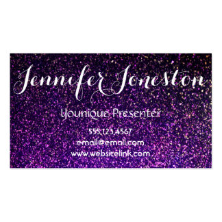 purple glitter business cards, presenter cards pack of standard business cards