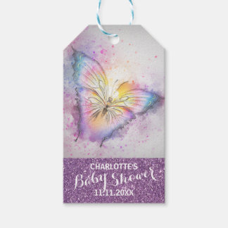 Purple Glitter Butterfly Colorful Baby Shower Gift Tags