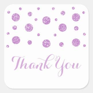 Purple Glitter Confetti Wedding Thank You Stickers