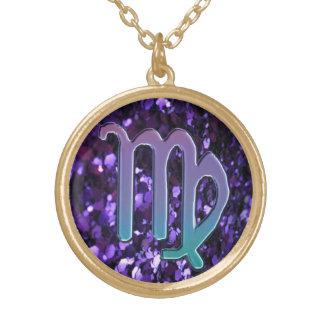 Purple Glitter Cool Virgo Zodiac Sign Necklace
