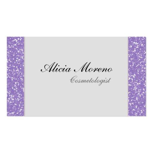 Purple Glitter Cosmetologist Business Cards