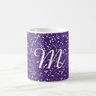Purple Glitter Custom Monogrammed Coffee Mug