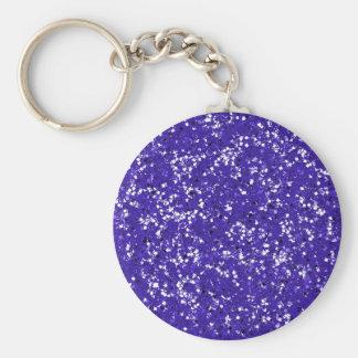 Purple Glitter Customized It Youself Basic Round Button Key Ring