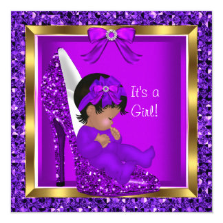 Purple Glitter Cute Baby in Shoe Baby Shower Girl 5.25x5.25 Square Paper Invitation Card