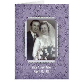 purple glitter damask frame for anniversary note card