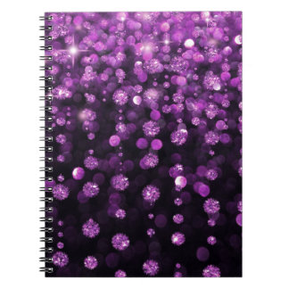 Purple Glitter Diamonds Spiral Note Books