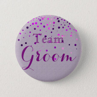 Purple Glitter Faux Foil Wedding Team Groom 6 Cm Round Badge