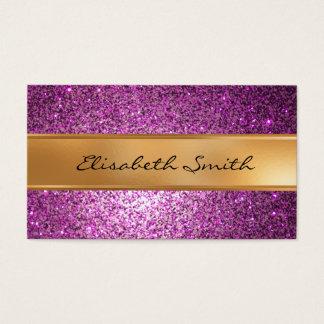 Purple Glitter, faux gold foil Business Card