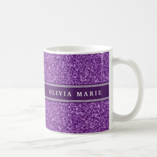 Purple Glitter (faux) Personalized Name Coffee Mug