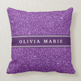 Purple Glitter (faux) Personalized Name Pillow