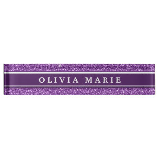 Purple Glitter (faux) Personalized Name Desk Nameplates