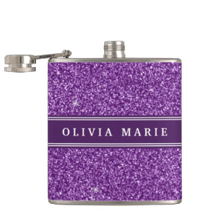 Purple Glitter (faux) Personalized Name Hip Flask