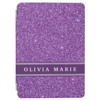 Purple Glitter (faux) Personalized Name iPad Air Cover