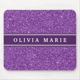 Purple Glitter (faux) Personalized Name Mouse Mat