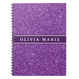 Purple Glitter (faux) Personalized Name Notebooks
