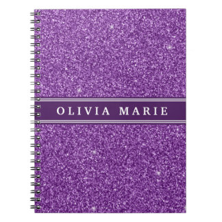 Purple Glitter (faux) Personalized Name Spiral Notebook