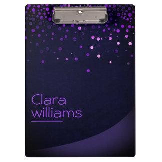 Purple Glitter Faux Sparkle Confetti Modern Clipboard