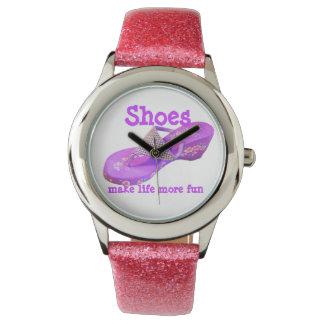 Purple Glitter Flip Flops Watch