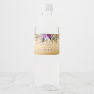 Purple Glitter Flowers Diamonds Gold Wedding Water Bottle Label