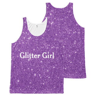 Purple Glitter Girl Show Your Sparkle All-Over Print Tank Top