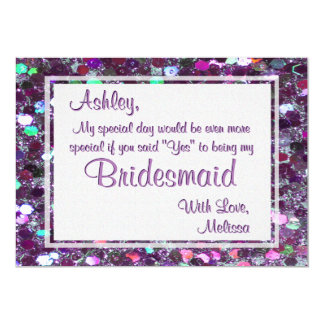 Purple Glitter Glam Will You Be My Bridesmaid Card