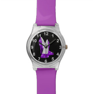 Purple Glitter Glamour high heel shoe watch Watch