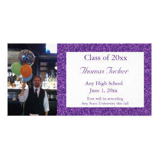 Purple Glitter Graduation Photo Card