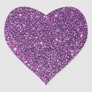 Purple Glitter Heart Stickers