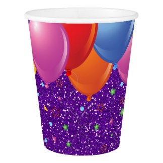 Purple Glitter Image Party Paper Cups