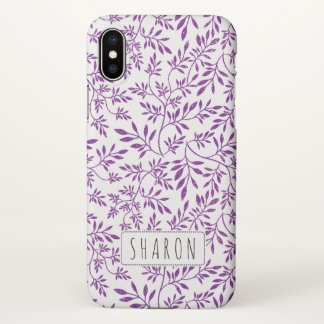 Purple glitter leaves pattern with name iPhone x case