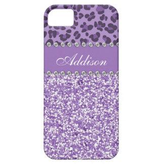 Purple Glitter Leopard Print Rhinestone Girly Case