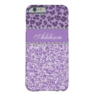 Purple Glitter Leopard Rhinestone Girly Case Barely There iPhone 6 Case