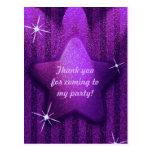 Purple Glitter-Like Star Birthday Thank You Cards