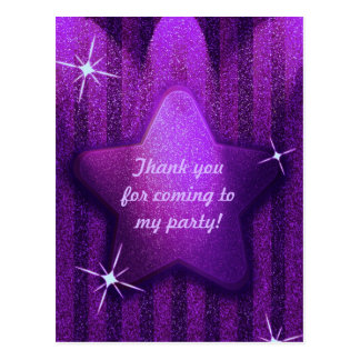 Purple Glitter-Like Star Birthday Thank You Cards Postcard