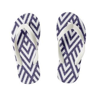 Purple Glitter Line Pattern on Kids Flip-Flop Kid's Flip Flops