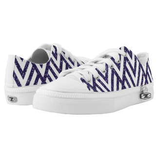 Purple Glitter Line Pattern on Shoes Printed Shoes